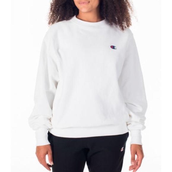 Champion Reverse Weave White Crewneck Sweatshirt ddfd302a48